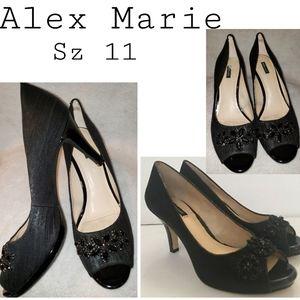 """Alex Marie blk """"Lauryn"""" embellished heels.  Sz 11"""